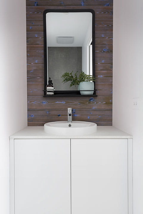 UFP-Edge deep sea blue charred wood shiplap cladding bathroom accent