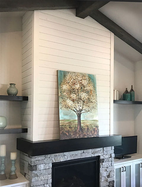 UFP-Edge white rustic collection shiplap fireplace accent