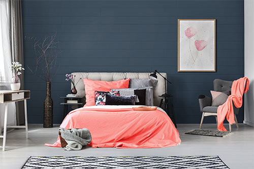 UFP-Edge cavalry blue timeless nickel gap shiplap bedroom with living coral accents