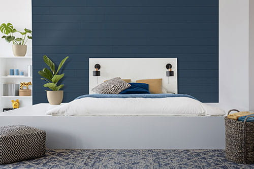 UFP-Edge cavalry blue Timeless nickel gap shiplap bedroom wall cladding.