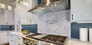 UFP-Edge cavalry blue timeless nickel gap shiplap kitchen accent wall.