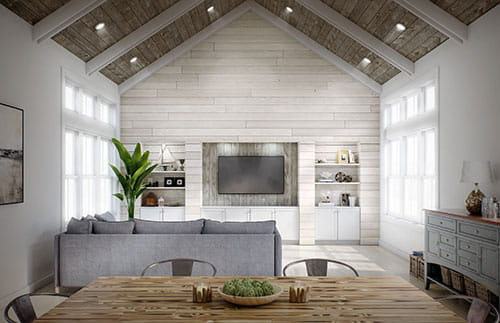 UFP-Edge smoke white charred wood shiplap cladding walls and shiplap wooden plank ceiling
