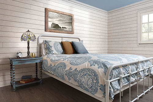 white rustic shiplap bedroom