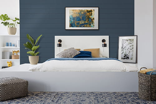 UFP-Edge cavalry blue timeless nickel gap shiplap bedroom