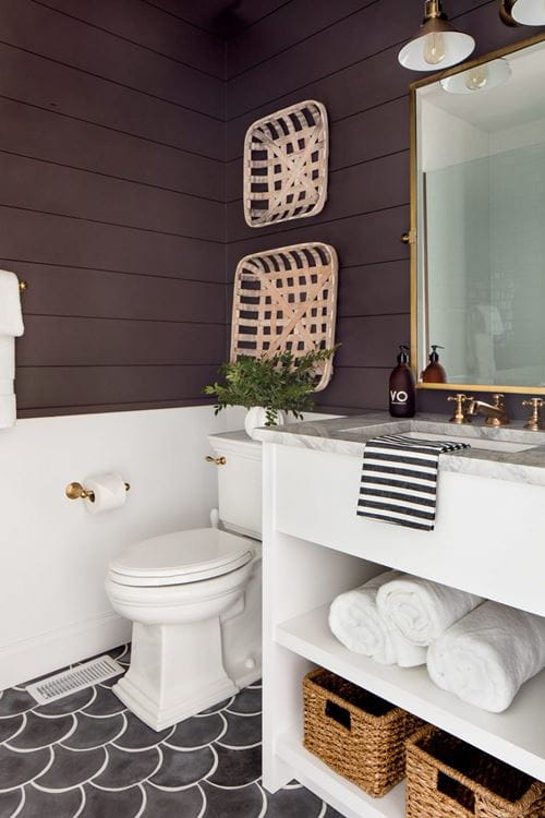 Bold bathroom shiplap in burgundy