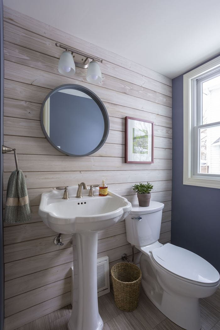 Charred Smoke White shiplap bathroom