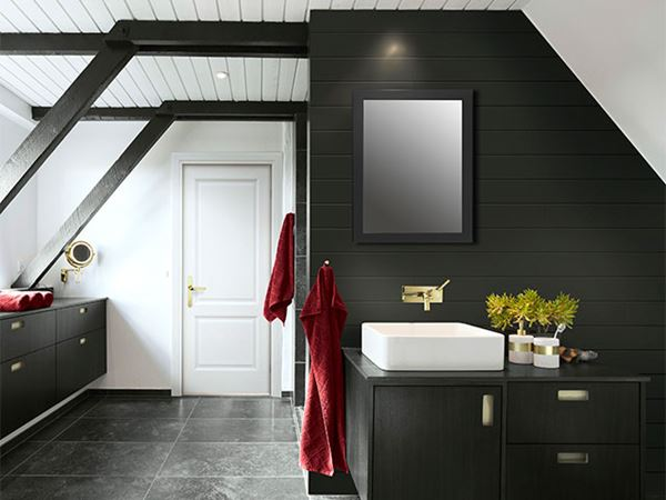 UFP-Edge midnight black timeless nickel gap shiplap bathroom accent wall
