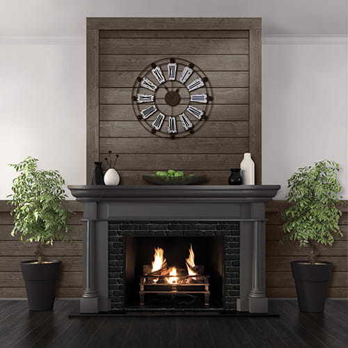 UFP-Edge charcoal black rustic shiplap fireplace
