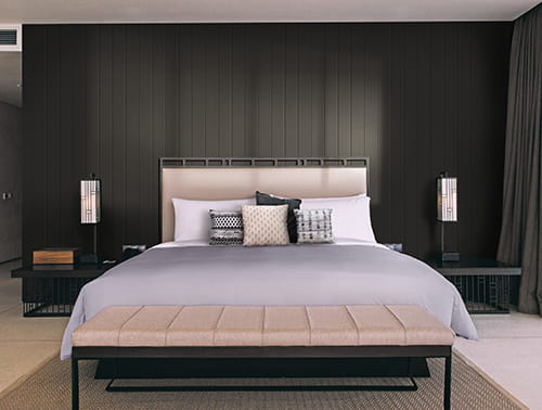UFP-Edge midnight black timeless nickel gap shiplap cladding bedroom accent wall