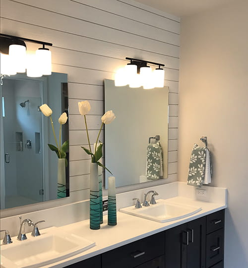 UFP-Edge white Rustic Collection shiplap bathroom
