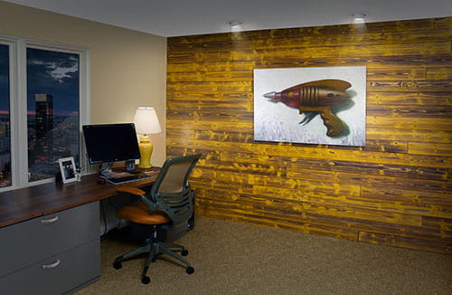 UFP-Edge sunrise yellow charred wood shiplap accent wall