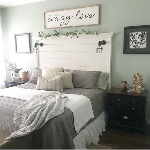 White smooth shiplap as bedroom headboard