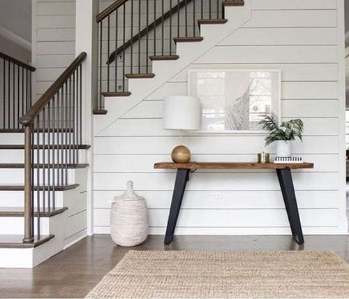 White smooth shiplap on staircase