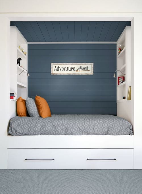 Timeless nickel gap Cavalry Blue shiplap in reading nook and ceiling