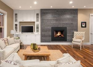Charred Ash Gray Shiplap Fireplace Living Room