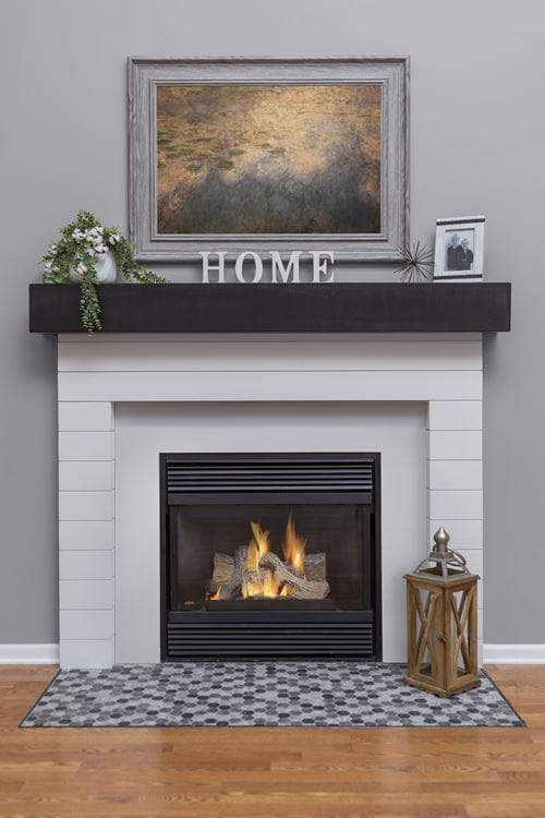 Timeless Farmhouse White shiplap fireplace gray  living room