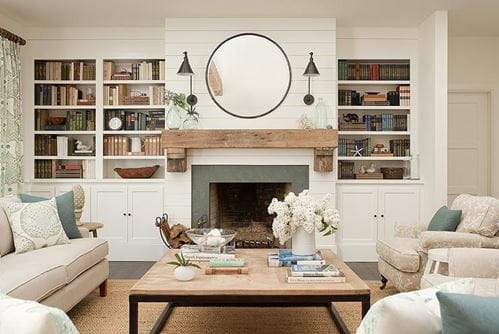 Smooth white shiplap fireplace in white room with gray tile around