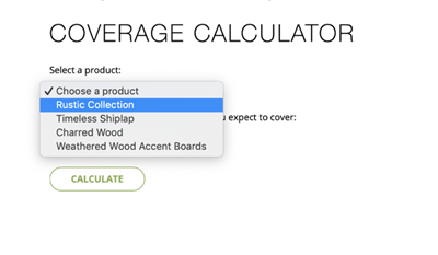 Coverage Calculator - Product Selection