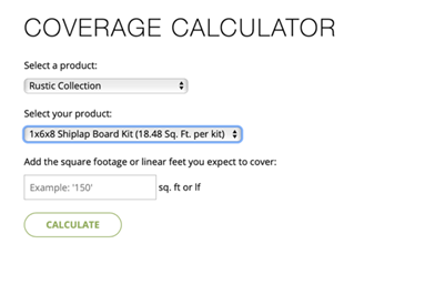 Coverage Calculator - Product Sizing