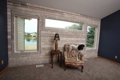 Well's accent wall in charred wood smoke white shiplap_after installation_dog in chair