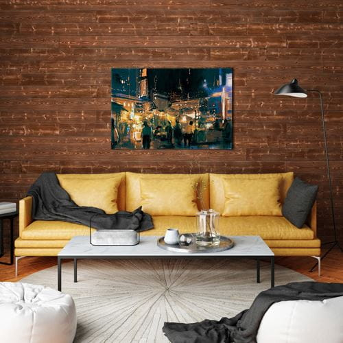 Canyon Charred Wood shiplap in living room with yellow couch