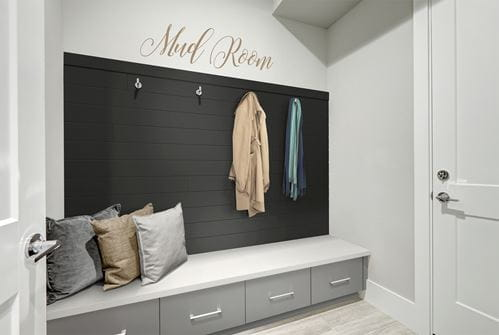 Timeless nickel gap in Midnight Black in mud room
