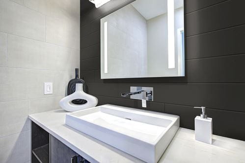 Timeless nickel gap shiplap in Midnight Black in bathroom