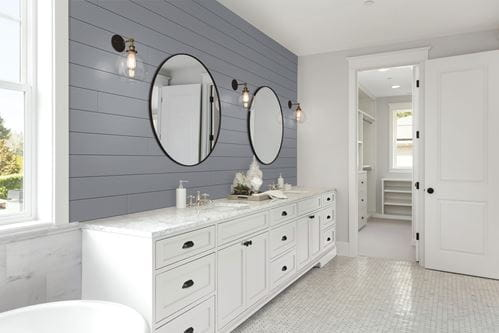 Timeless Nickel Gap Shiplap in Granite Gray in Bathroom