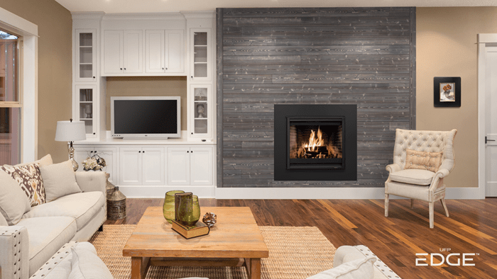 Charred Ash Gray Living Room with fireplace