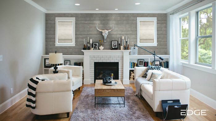 Rustic Gray Living Room with fireplace