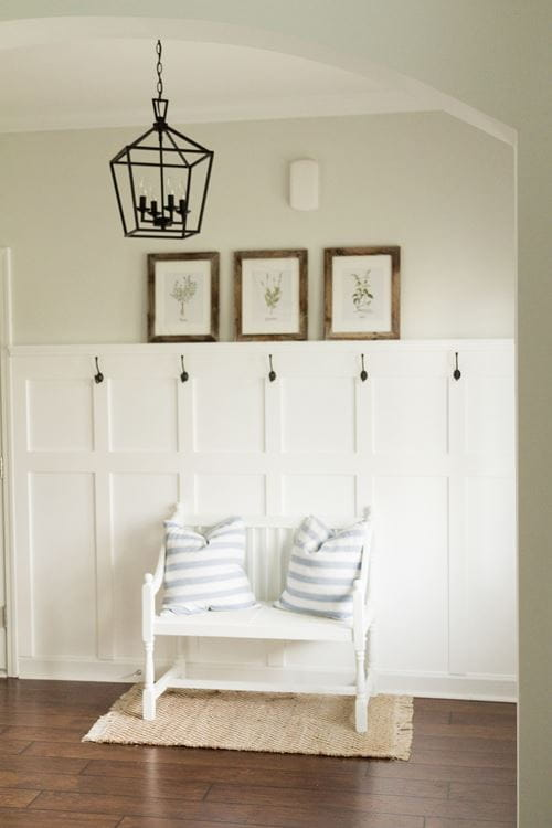 White board and batten entryway