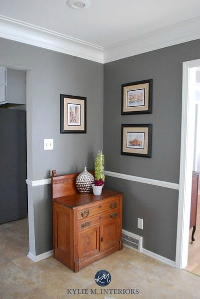 Chair rail in dining room with gray wall
