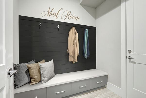 Timeless Midnight Black Shiplap Mudroom