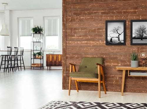 Charred Canyon Shiplap in mid century modern home