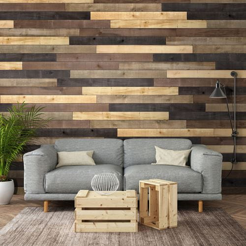 Weathered Wood Accent Boards in Living Room With Gray Couch and Plant