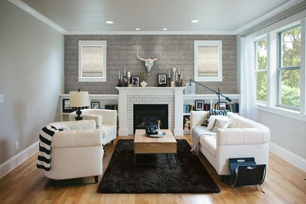 Rustic gray shiplap living room with fireplace an black rug