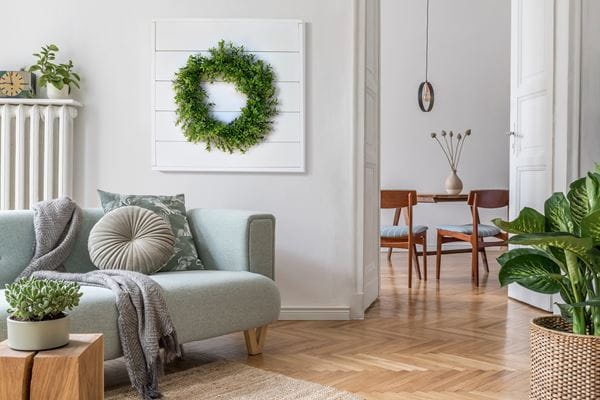Timeless Shiplap Sign in botanical living room