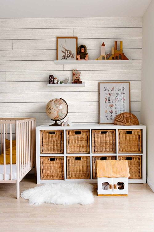 Rustic White shiplap wall in Scandinavian inspired nursery