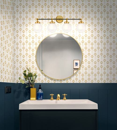 Timeless shiplap bathroom half wall blue with gold wallpaper