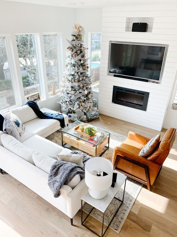 Final aerial view of shiplap built-in project_Christmas tree_living room