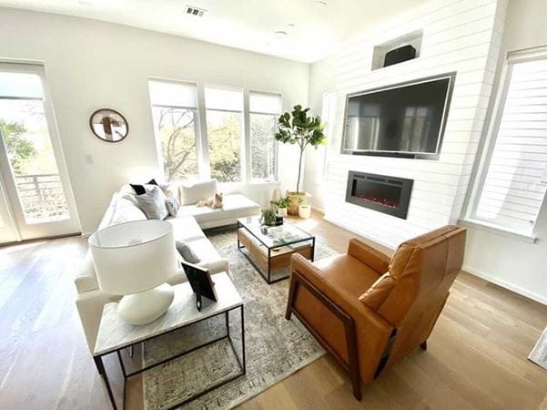 Living Room with shiplap fireplace and tv built-ins