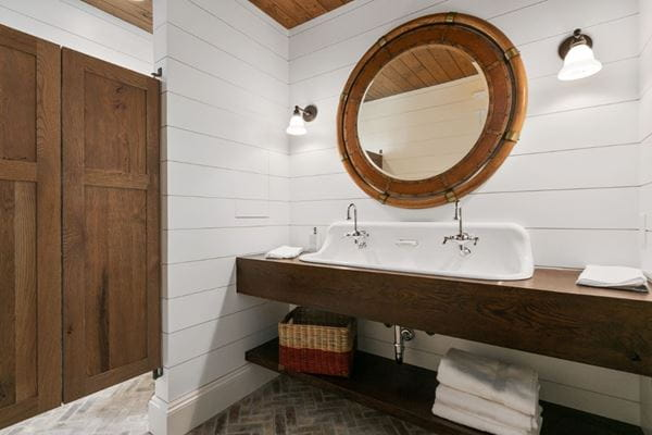 Edge Timeless shiplap bathroom wood round mirror swing door