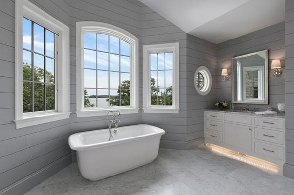 Timeless Granite Gray modern bathroom tub
