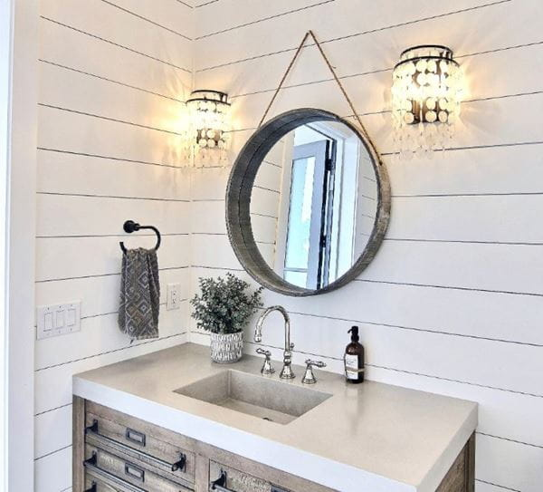 Timeless shiplap bathroom corner round mirror
