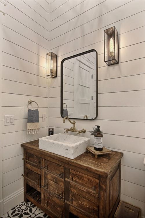 Full view of Timeless shiplap powder room wall to ceiling