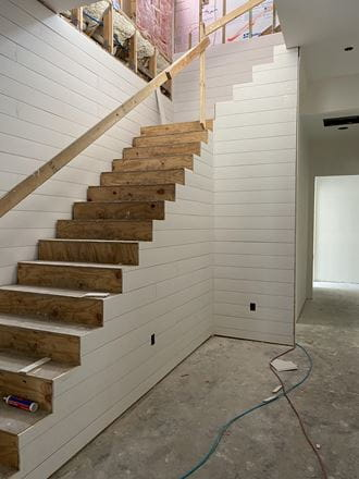 UFP-Edge Timeless shiplap on Palm Grove Farmhouse stairs