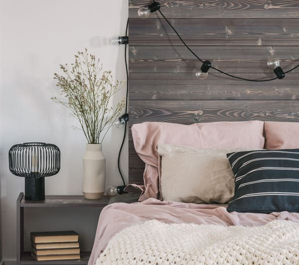 Charred Wood Ash Gray Shiplap Headboard