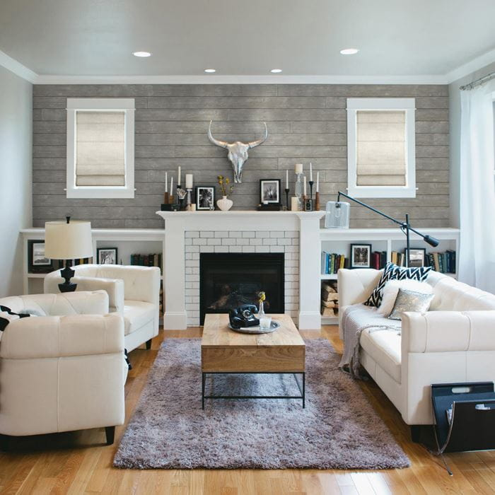 Rustic gallery gray fireplace in living room