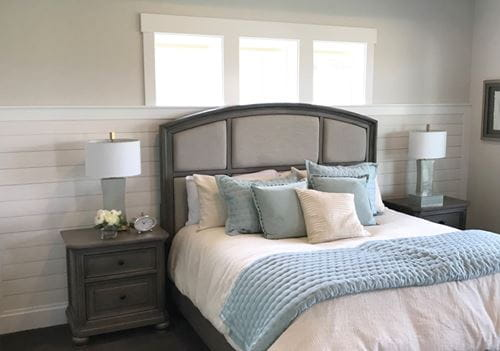 Bedroom with Rustic White shiplap wainscoting