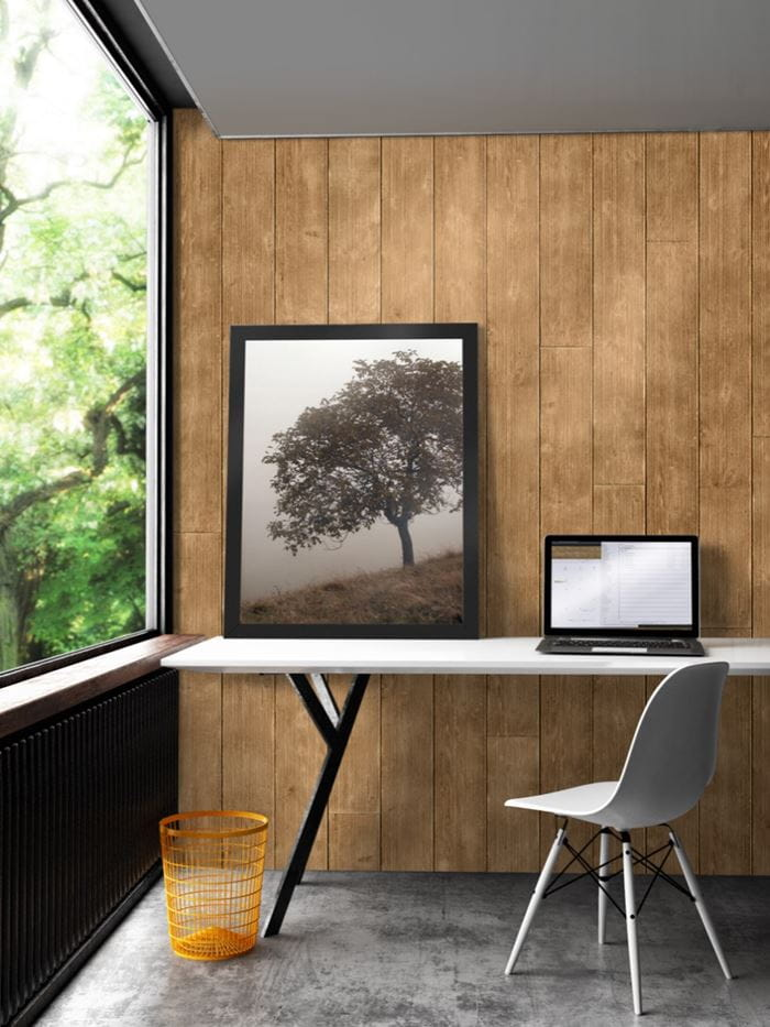 Rustic Collection Light Brown shiplap home office desk area